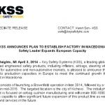KSS SAFETY SYSTEMS отвора фабрика во Кичево - 1000 нови вработувања