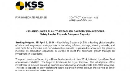 KSS SAFETY SYSTEMS отвора фабрика во Кичево – 1000 нови вработувања