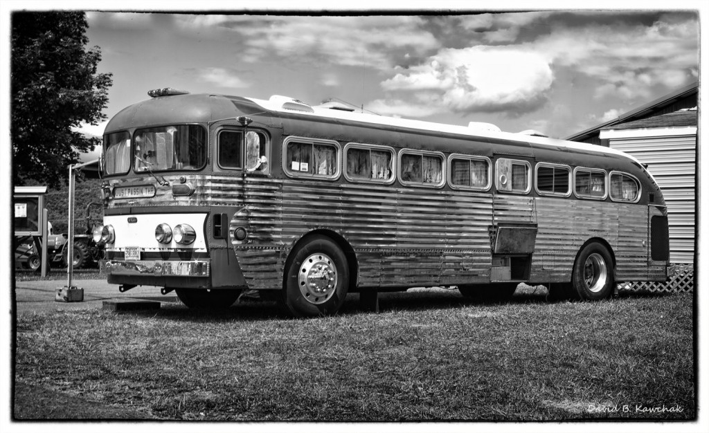 Old bus B & W